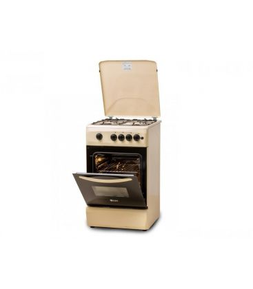 Aragaz LDK 5060 A CREM NG, 4 arzatoare, Aprindere electrica, Capac metalic, 50x60 cm, Crem